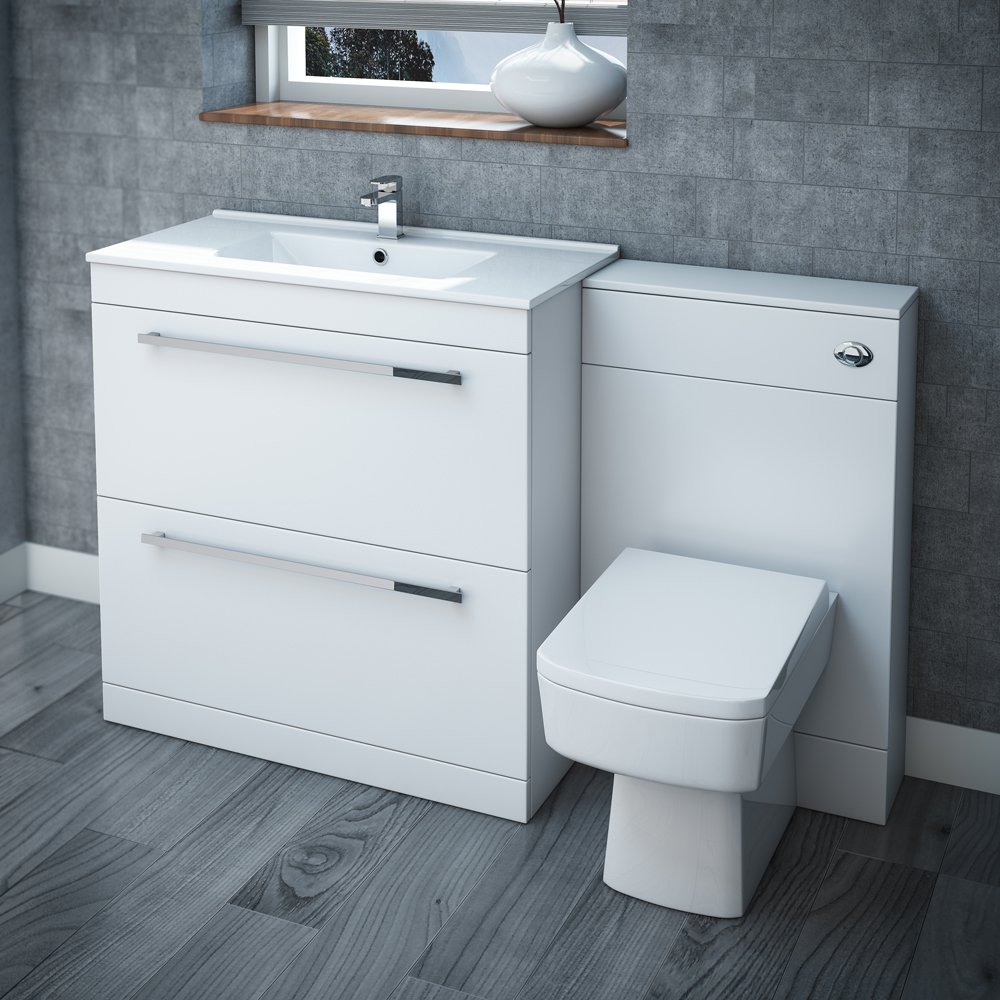 Nova high gloss white vanity bathroom suite w1300 l city for Bathroom cabinets 400mm high